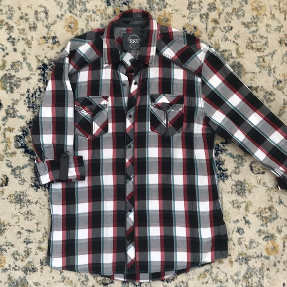 Men's Clothing Bke 67 Mens Shirt Large Button Front Long Sleeve Navy Plaid Buckle Casual Button-down Shirts